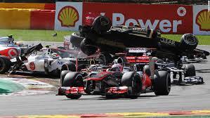 dramatic first corner crash at belgian grand prix takes out four