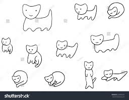 minimal funny kittens coloring page vector stock vector 632866337