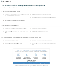 quiz u0026 worksheet kindergarten activities using plants study com