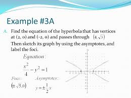 example 3a find the equation of the hyperbola that has vertices at 2