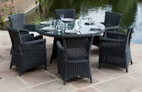 Black Wicker Furniture Black Wicker Dining Doom Set On Beige Concrete Pool Deck Elegant