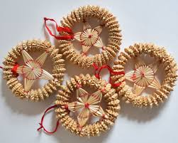 vintage straw ornaments set of 4 winter