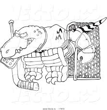 vector of a cartoon raptor goalie coloring page outline by