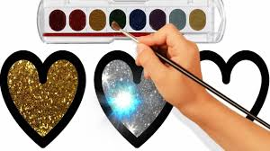 glitter heart coloring pages how to draw heart learn colors