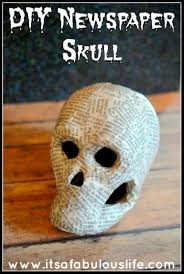 home decor easy diy newspaper skeleton skull halloween decoration