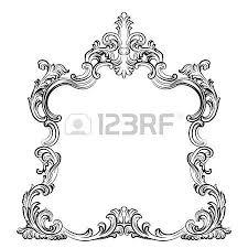luxury baroque rococo mirror frame set vector luxury