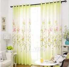 Green Color Curtains Floral Curtains For Living Room Decorate The House With