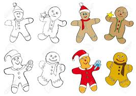 set of four different christmas gingerbread men cookies in two