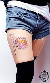 watercolor lotus tattoo classic watercolor lotus tattoo on girl right thigh