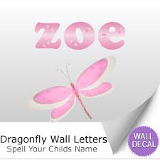name wall letters alphabet stickers initial decals girls decor dragonfly name wall letter stickers