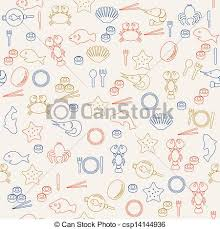 seamless pattern food sea food seamless pattern vectors search clip art illustration