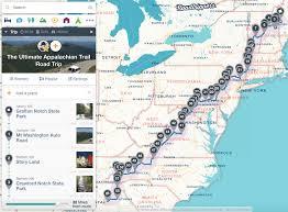 appalachian mountains on map road trip the appalachian trail roadtrippers