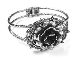 rose silver bracelet images Steampunk bracelet victorian silver rose cuff jewelry by jpg