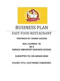 Business Plan Template Restaurant Fast Food Restaurant Business Plan Fast Food Fast Food Restaurants