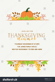 thanksgiving invitation template pumpkin autumn leaves stock