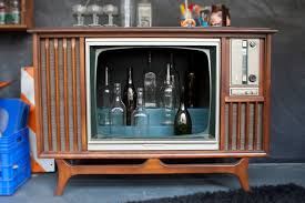 hand made vintage tv television cocktail bar cabinet by whisky
