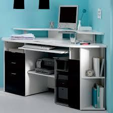 Home Computer Room Interior Design Black Glass Computer Desk On White Ceramic Floor Tile Closed To