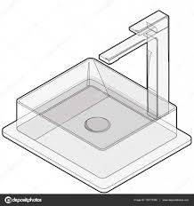 isometric basin with tap bathroom sink kitchen interior