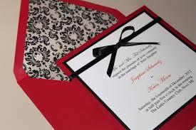 Black Wedding Invitations Red Wedding Invitations Square Damask Wedding Invitations Red And