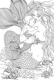 free coloring page coloring mermaid and child drawing by