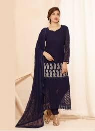 designer dress blue nazneen chiffon designer dress material