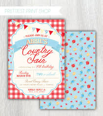 printable country fair invitation red gingham floral farmers