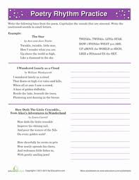 poetry rhythm worksheets poetry and fourth grade