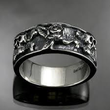 skull wedding rings antiqued sterling silver 8 lovely skull wedding bands woman