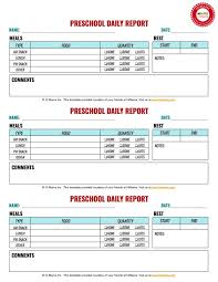 daily report sheet template 12 best infant toddler preschool daily report templates images