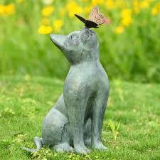 curiosity cat garden sculpture butterfly friend metal kitten