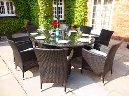 royal 2 1 metre oval grey rattan dining table and 6 carver chairs