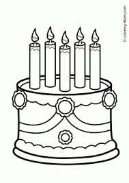 Birthday Cake Coloring Pages Archives Coloring 4kids Com Birthday Cake Coloring Pages