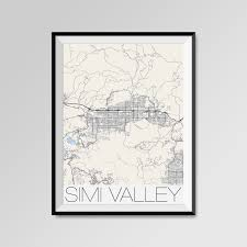 Simi Valley Map Simi Valley California Map Simi Valley City Map Print Simi