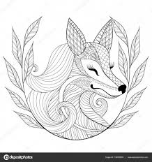 zentangle fox face in monochrome doodle style hand drawn wild