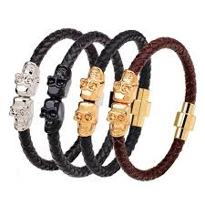 leather bracelet with skull charm images Punk genuine leather bracelet bangle double skull charm bracelet jpg