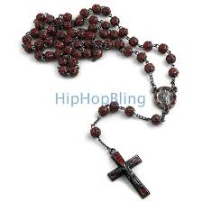 black rosary bling bling hip hop rosary on black hip hop rosary