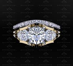 yellow gold bridal sets sapphire studios 3 20ct trio diamond gold triforce