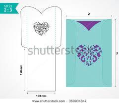 wedding invitation pocket envelopes pocket envelope template die cut heart stock vector 360934847