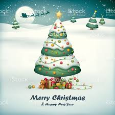 christmas tree with santa sleigh on snow field background stock