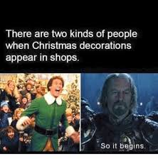 Christmas Shopping Meme - there are two kinds of people when christmas decorations appear in
