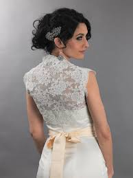 sleeveless bridal alencon lace bolero jacket lace 079