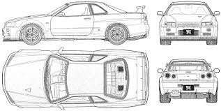 car blueprints nissan skyline gt r r34 v spec ii blueprints