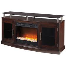 tv stand with fireplace insert u0026 floating black tempered glass top