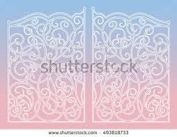 beautiful iron ornament gates stock vector 362732972