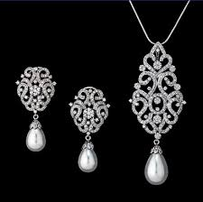 diamond pearl necklace set images Drop pearl earrings jpg