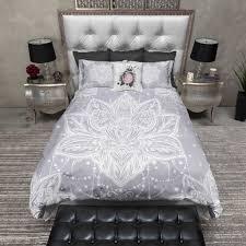 lilac grey boho lotus blossom bedding duvet bedding bedding