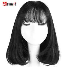 from pixie cut to bob with extensions aosiwig short bob heat resistant synthetic wigs with bangs for black