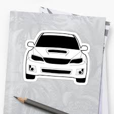 sti subaru white front profile wrx sti sticker tee shirt designed for subaru