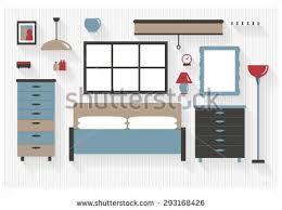 teen bedroom furniture computer desk bed stock vector 293168423