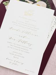 Foil Wedding Invitations Romantic Burgundy And Gold Foil Wedding Invitations